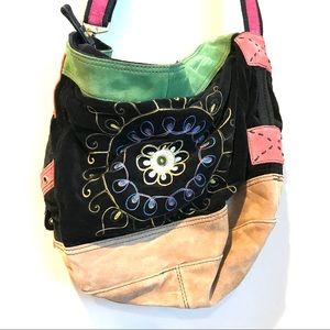Lucky Brand Embroidered Floral Suede Bag